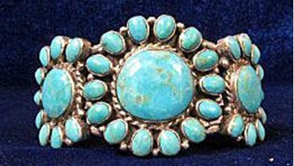 Native American bracelet, sterling silver, turquoise stones 1