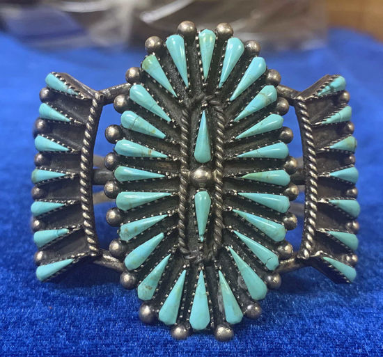 Picture of Needlepoint Cluster Turquoise Bracelet