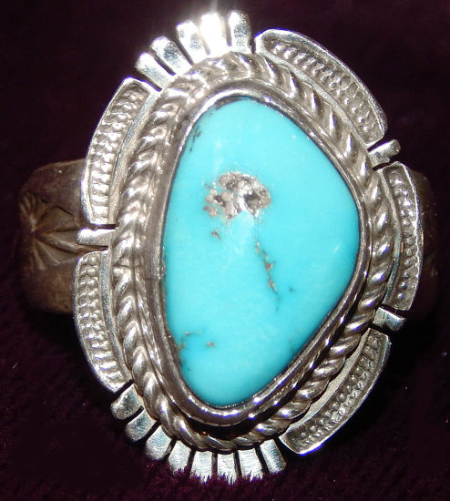 Navajo Silver and Turquoise Ring 12a