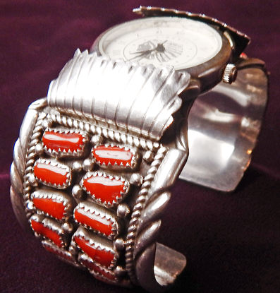 Coral and Silver Watch Bracelet a