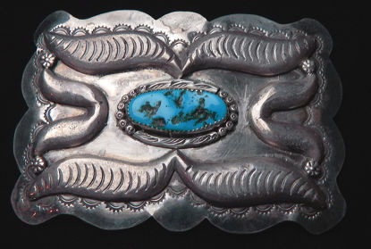 Turquoise and Silver Belt Buckle A