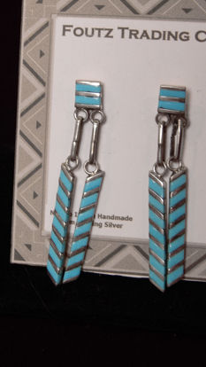 Zuni Turquoise Channel Ear Ring