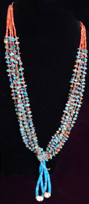 Navajo Silver and Turquoise Squash Blossom Necklace 1